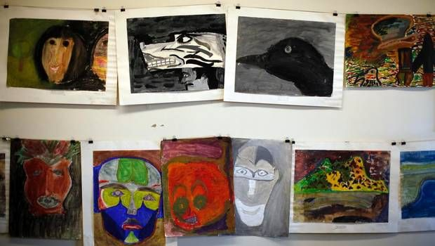 A collection of 47 paintings created by children at the Alberni Indian Residential School, shown on March 26, 2013, was recently discovered during a University of Victoria field studies class. (CHAD HIPOLITO FOR THE GLOBE AND MAIL)