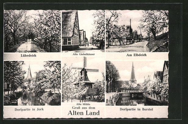 Alte Ansichtskarte: AK Jork, Alte Giebelhäuser, Am Elbdeich, Lühedeich