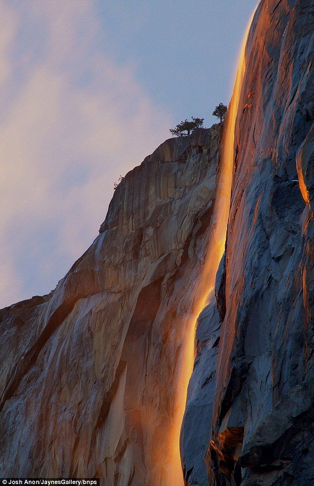 Horsetail Falls, Yosemite National Park... the way the sun hits the water makes it look like fire.