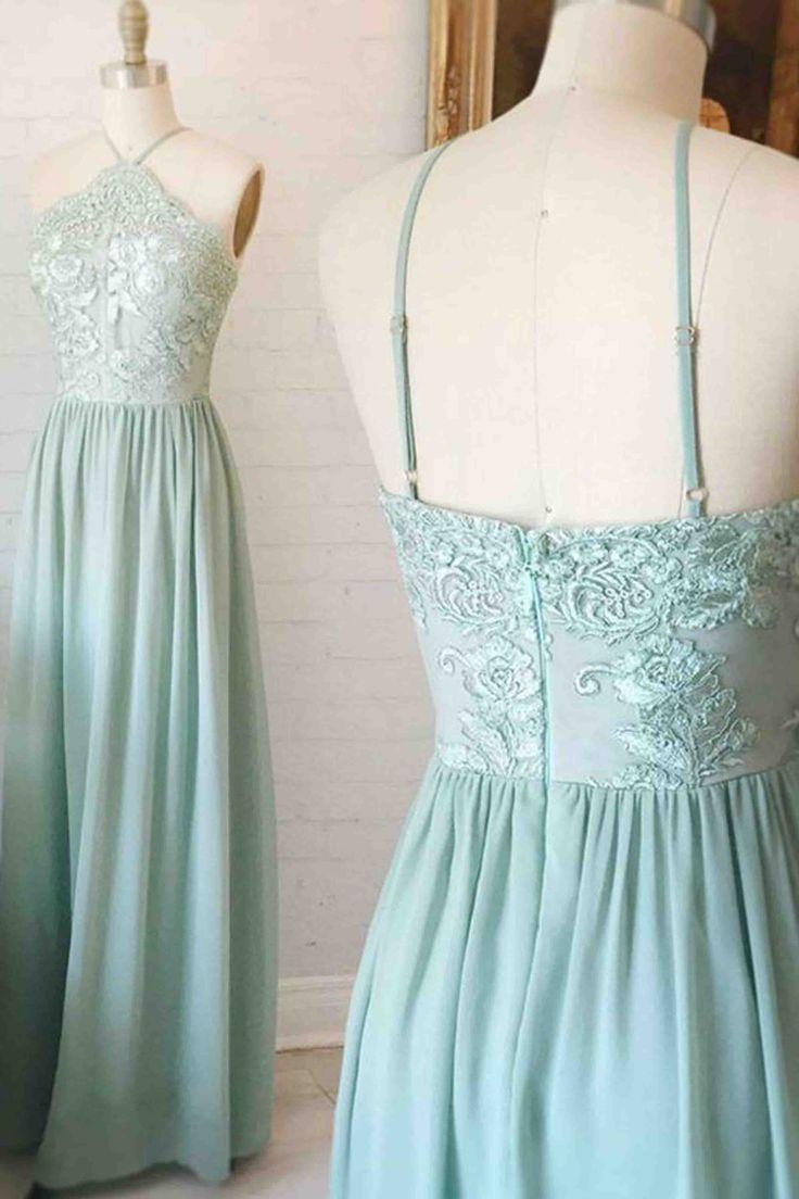 Chiffon prom dress, blue prom dress, cute halter prom dress for 2017