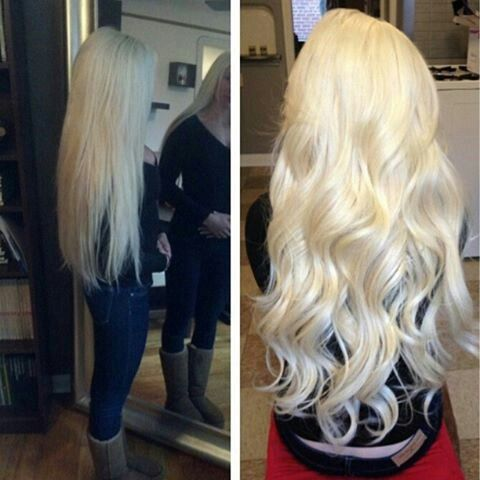 Long blond  hair. The platinum....I'm in loveee!!!!!