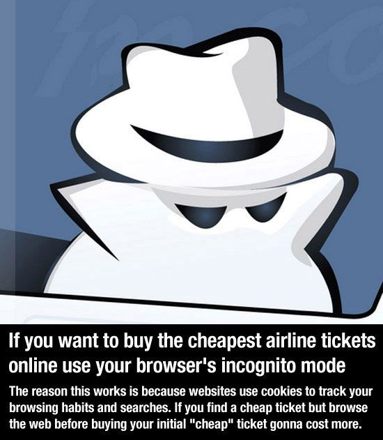 life hacks - use incognito mode to buy airline tickets