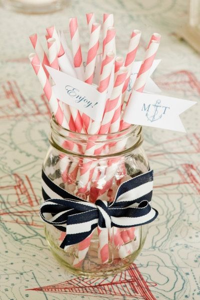 love the mason jar with the navy ribbon - we should do this also with coral ribbon and the navy straws