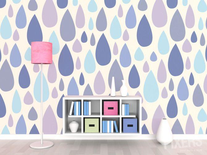 Papier peint seamless pattern avec des gouttes de pluie - goutte de pluie • PIXERS.fr  36.00