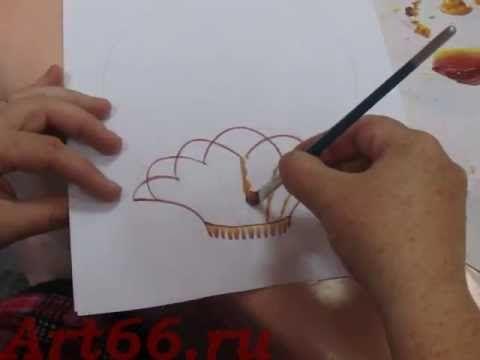 Нижнетагильская роспись. Рисуем корзинку и виноград - YouTube
