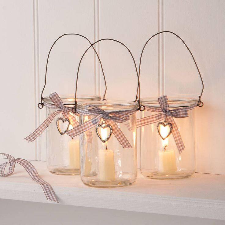 glass jar votive candle lantern with heart by the contemporary home | notonthehighstreet.com