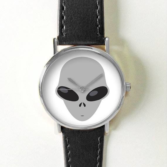 Alien Emoji Watch Watches for Men Women Leather  by FreeForme