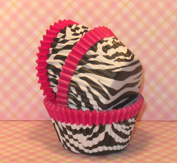 Hot Pink Trim Zebra Print Cupcake Liners  (40) on Etsy, $5.00
