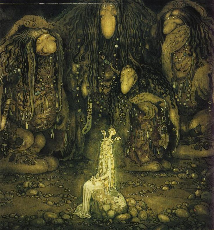 "Painting by the Swedish artist John Bauer (1882--1918). He made pictures of creatures in the Swedish folk belief, inspired by the deep dark forests. Here is princess ""Tuvstarr"" surrounded by trolls."