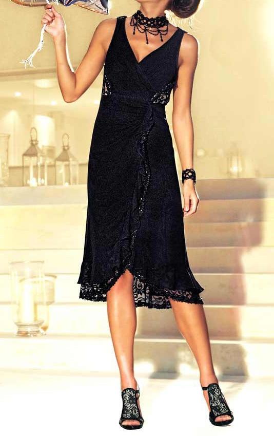Robe Femme de soiree noir avec de la dentelle et des perles marque Heine par UnCadeauUnSourire.com
