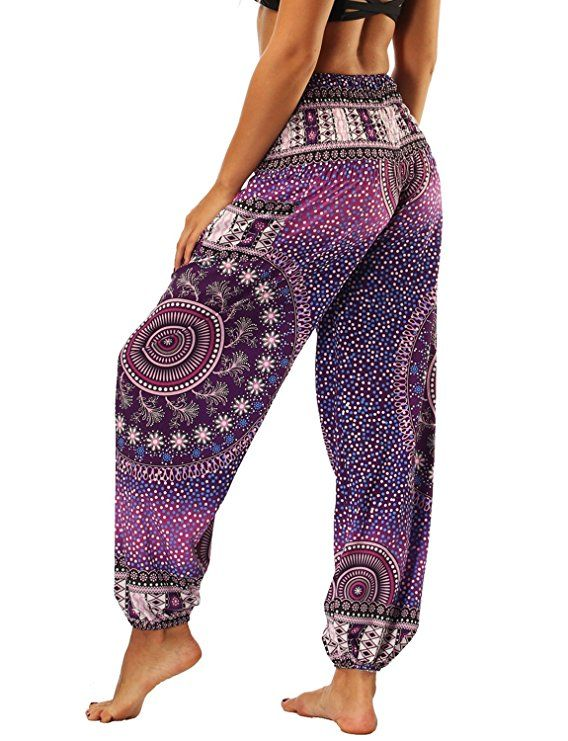 Seeu Harem Trousers Aladdin Hippie Pants Yoga For Women Men Purple Peacock Amazon Co Uk Clothing Hippie Outfits Hippie Pants Clothes