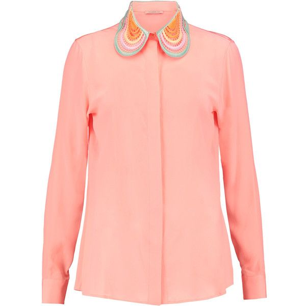 Christopher Kane Embroidered silk blouse (£239) ❤ liked on Polyvore featuring tops, blouses, coral, peter pan collar top, embroidery blouses, red silk top, peter pan blouse and loose fit blouse