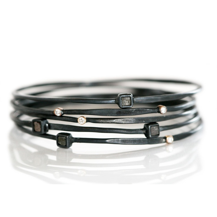 Stacks bracelet in black silver with diamonds.http://anettewille.dk