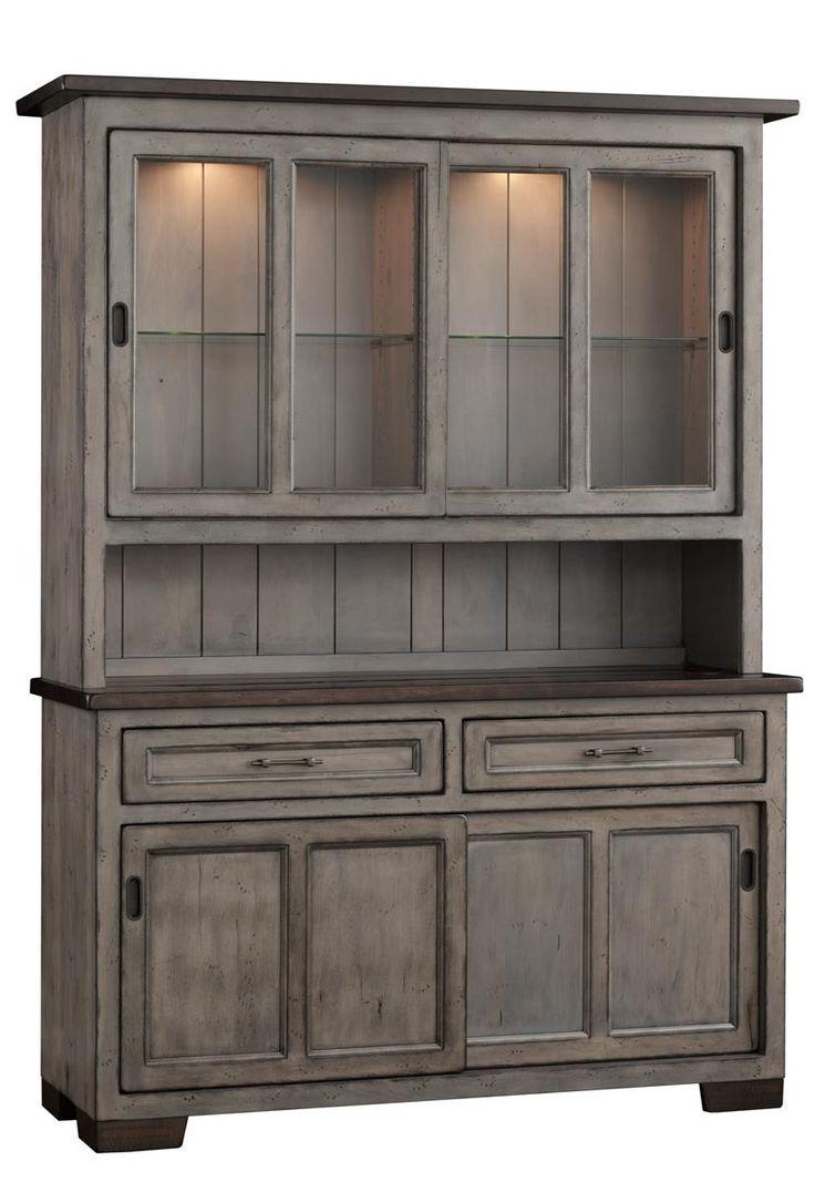 Amish Hudson 2 Door Hutch With Sliding Doors