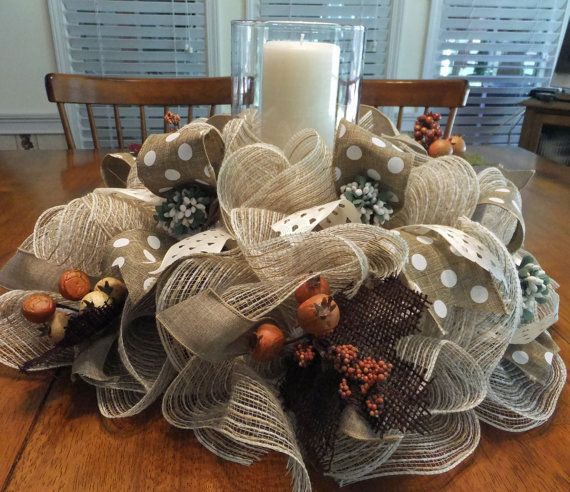 Table Centerpiece Fall Wreath Deco Mesh Table by PJCreativeWreaths