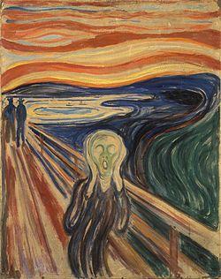 El Grito (The Screem, en Idioma noruego Skrik), título de cuatro cuadros del noruego Edvard Munch. La versión más famosa se encuentra en la Galería Nacional de Oslo, Noruega y fue completada en 1893. De técnica de óleo, temple y pastel sobre cartón, de tamaño 91cm × 74cm, muestra una figura andrógina, que simboliza a un hombre moderno en un momento de profunda angustia y desesperación existencial. Considerado como una de las más importantes obras del artista y del movimiento expresionista