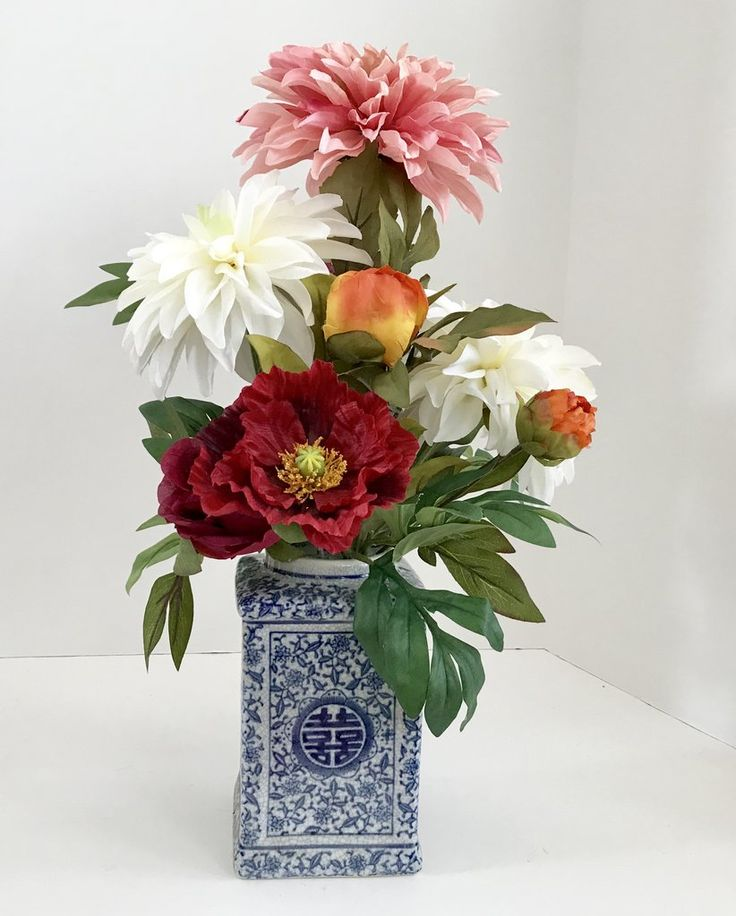 86 best decorative silk flower arrangements images on pinterest chinese blue and white double happiness vase with silk red white orange and pink silk flower arrangementssilk mightylinksfo