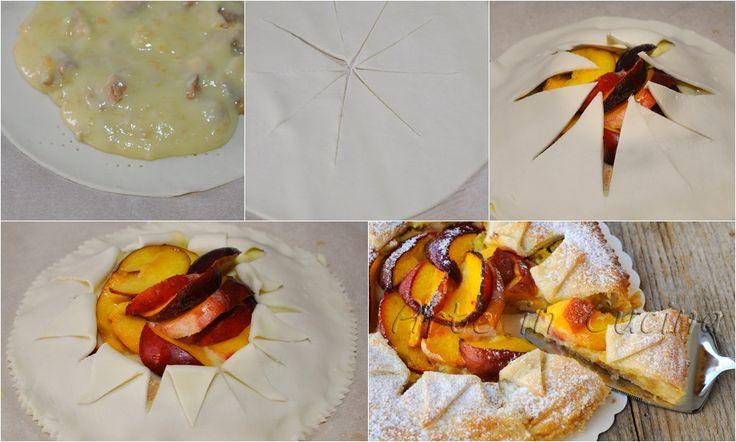 Torta sfogliata alla crema e pesche ricetta dolce vickyrt arte in cucina