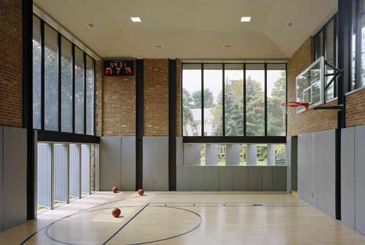 Brick steel structure house gym private design ideas for Personal basketball court