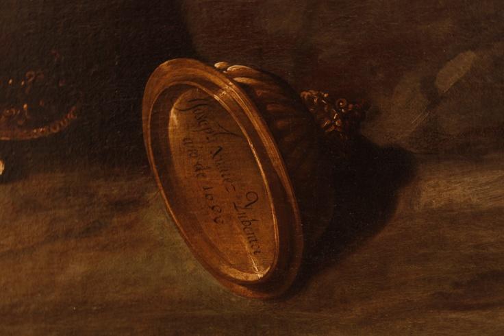Firma de José Juárez en La adoración de los magos.