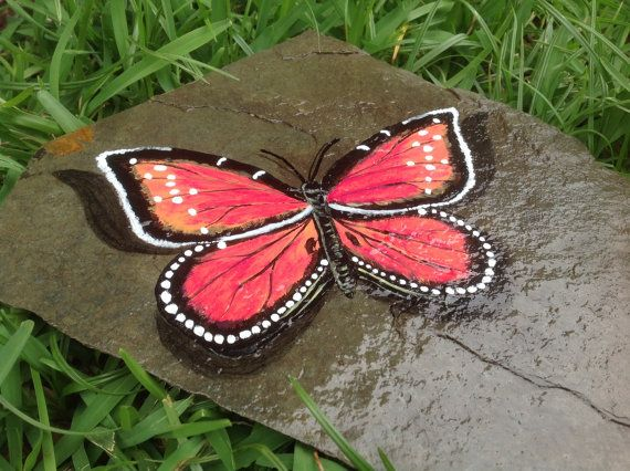 """Pink and orange Butterfly ~ Hand Painted on Slate ~  Garden, Pond or Home Accent 9"""" X 10"""" ~ Love & Romance Feng shui"""