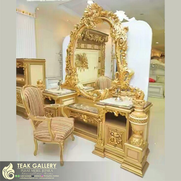 Meja Rias Klasik Eropa Mewah Gold