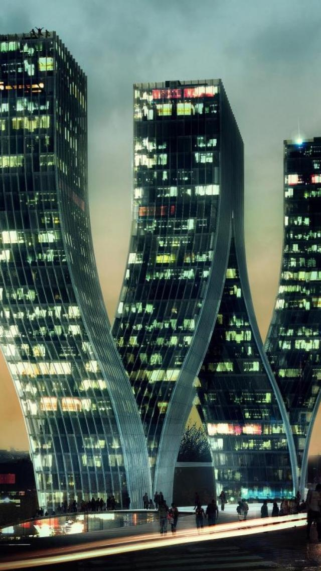 Bending Skyscrapers, City, Landscapes