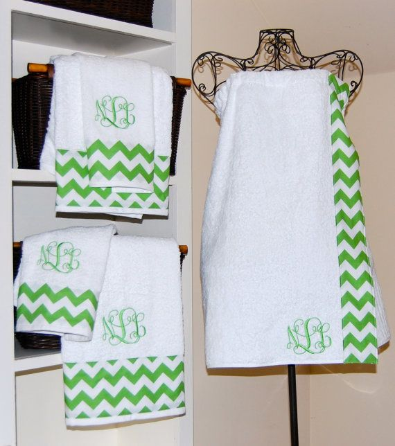 Monogrammed Chevron Bath Wrap and Towel Set Towel wrap