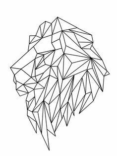 Lion geometric tattoo designs