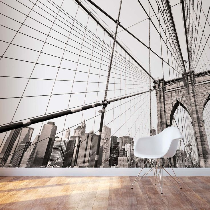 Brooklyn bridge wall mural for a modern and urban room for Brooklyn bridge mural wallpaper