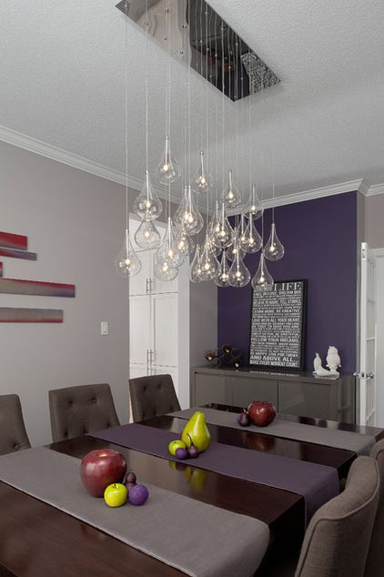 contemporary dining room by LB Decor and Designs, purple colors in dining room with a sparkly light fixture
