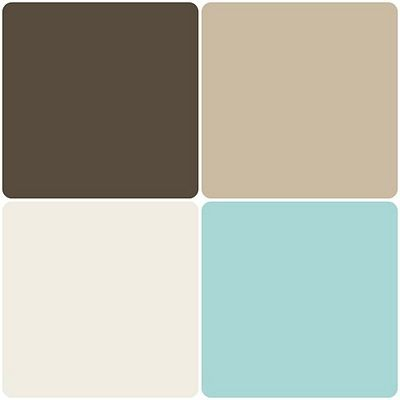 Absolutely favorite go-to color palette.  Will brighten any space.  Best to use the darker shade within your furniture and lighter colors to make a room feel brighter and more spacious. Starting at the top left going clockwise they are : Dried Leaf, Gobi Dessert, Rivers edge, and Toasted Marshmallow. All Behr Paints.