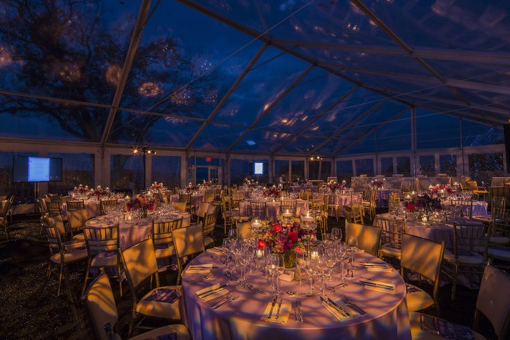 Event decor for Phelps Memorial Hospital's 28th Annual Champagne Ball at Sleepy Hollow Country Club this month. The lighting design brought in a hint of the gorgeous wooded surroundings, made even more breathtaking by the glass ceiling above the 400 guests, giving a view of the night sky. The floral centerpieces were arranged with rich autumnal colors of dark pink, deep purple, forest greens and more!  Lighting design by Bentley Meeker Lighting & Staging! #party #starrynight #design #decor