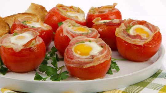 Stuffed Baked Tomatoes and Eggs with Pancetta | Recipe | Tomatoes ...