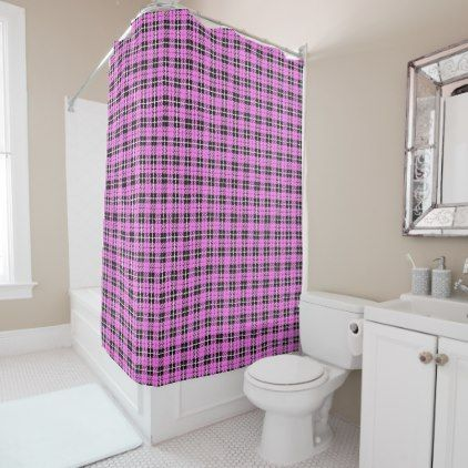 Light soft pink white/black stripe plaid shower curtain - light gifts template style unique special diy