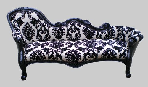 Jimmie martin chaise lounge this doesn 39 t go with anything for Black damask chaise longue