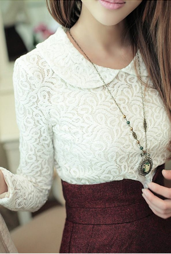 Cute outfit. lace collar top with maroon skirt and vintage necklace.: