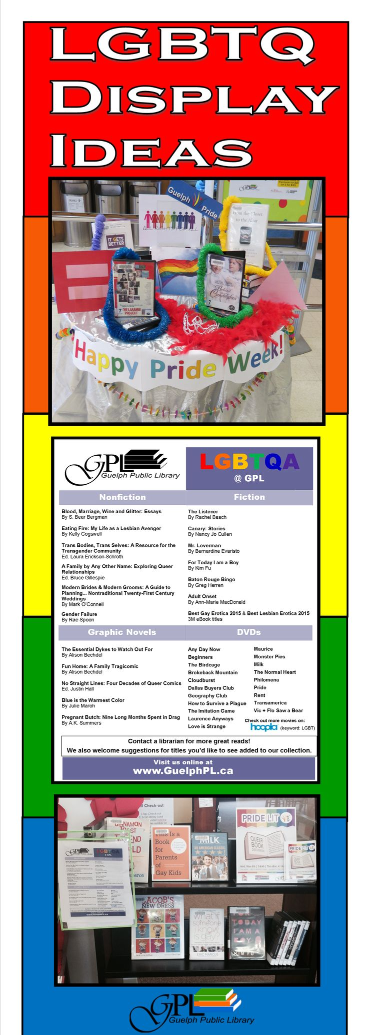 LGBTQ Library Display Ideas! Displays and a Book List to show your Pride! #SomethingForEveryone