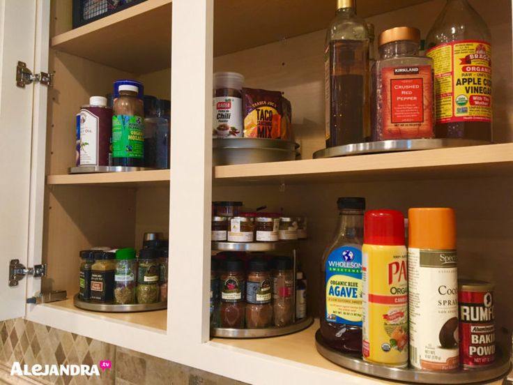 Ideas For Organizing Spices, Vinegar, And Cooking Oil In A Kitchen Cabinet  From #