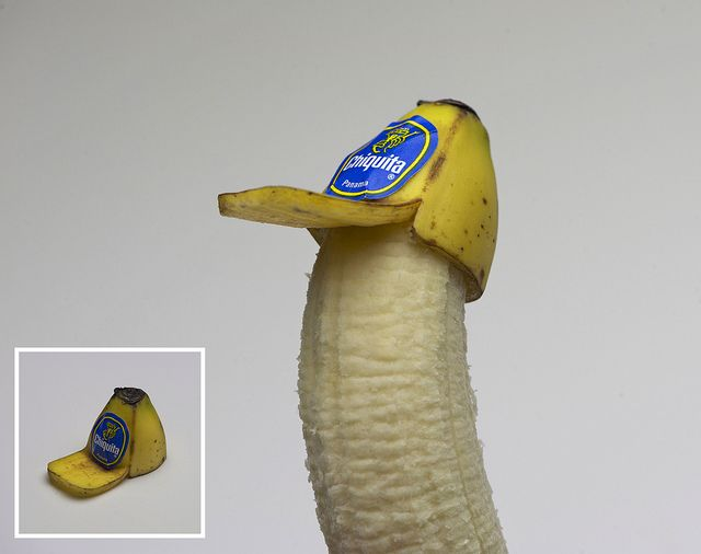 Banana Peel Trucker Hat - How to make: 1 or 2 bananas. One to make the hat, one to model the hat. This could also be made using one banana. Carve the shape of the hat using an x-acto knife. Leave one of the banana peel sides longer, to make the rim of the hat. Most bananas come with a little sticker. Use this sticker to serve as the logo on the hat, if you want your hat to have a logo. Whoa anna! lets do it!