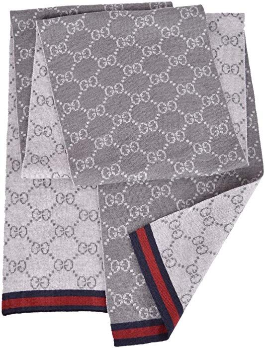 626cb06f220 Amazon.com  Gucci Men s Wool Grey Reversible GG Guccissima Blue Red Web  Scarf Muffler  Clothing