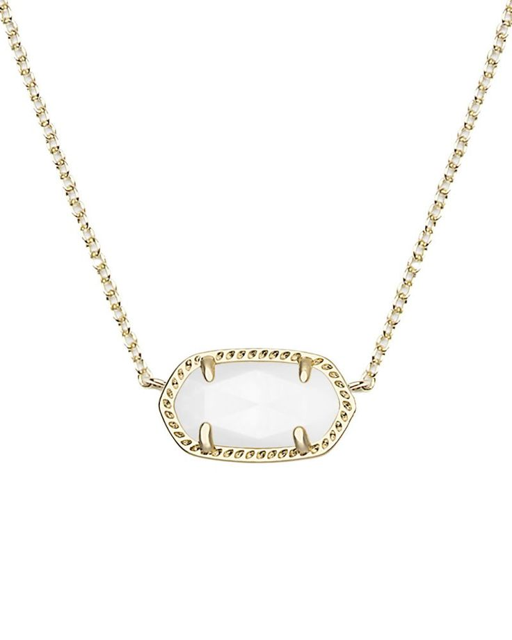 Elisa Pendant Necklace in White Pearl - Showcasing the natural beauty of white pearl, this tiny necklace features an oval stone, Kendra Scott's signature shape.