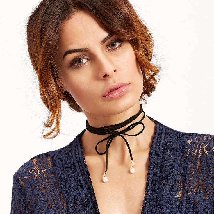 IF ME 2 Pcs/Set Tattoo Lace Black Choker Necklace Simulated Pearl Triangle Velvet Bow Choker Party Girls Women Collares Jewelry