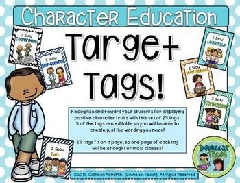 Target Tag Brag Tags For Character Education: Reinforce And Recognize Positive  Character Traits In Your  Positive Character Traits