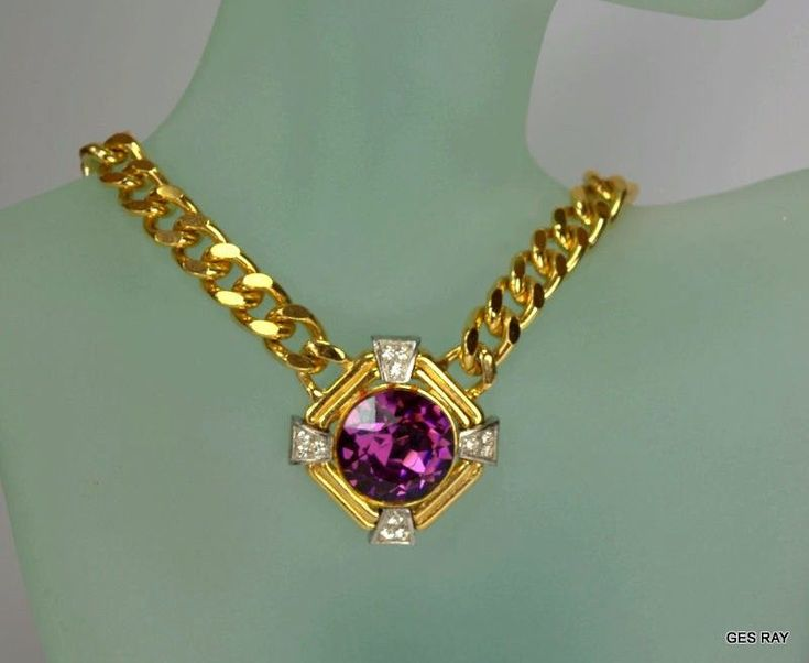 Vintage Faux Amethyst Rhinestone Gold Plated Haute Couture Chain Collar Necklace #Collar