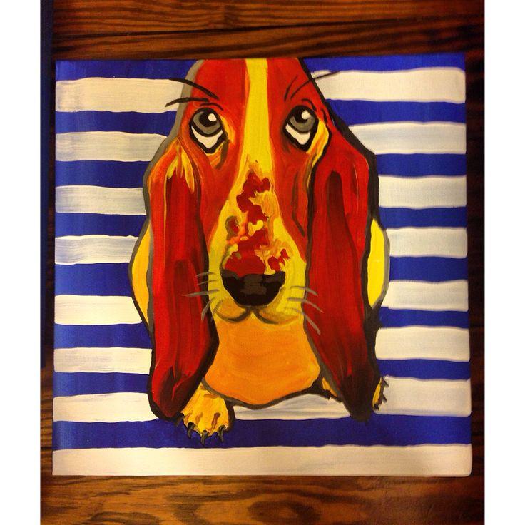 Doggies #hushpuppies #paint #painting #acrylic #stripes #love #doggies #dog #art #canvas