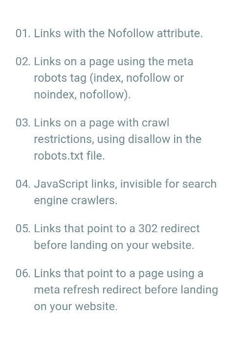 6 types of links that are not equity links. #EquityLinks #NonEquityLinks #NofollowAttribute #Noindex #JavaScriptLinks #302Redirection