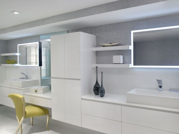 This ultra-contemporary white bathroom vanity was completed by Sheryl Bleustein Interiors. #luxeFL