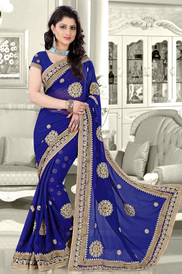 Navy Blue Faux Chiffon Wedding Saree 70461