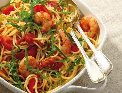 Spaghetti mit Garnelen und Rucola - das ist unser Weight-Watchers-Rezept.